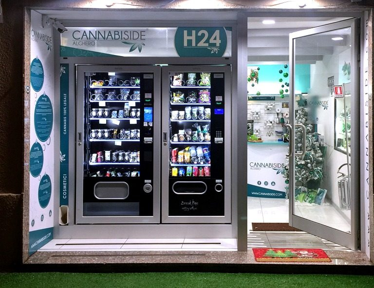 Pics Of the Franchise Cannabis Sativa Store Cannabiside with two Vending Machine
