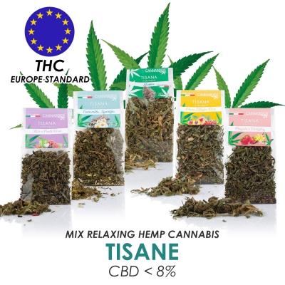Tisane alla Canapa Rilassanti. Scopri i 5 Gusti delle Tisane a Basse di Cannabis Sativa con Cbd Naturale